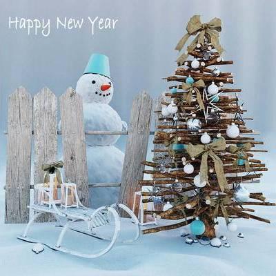 树, 摆件, 现代, 圣诞树, 陈设品