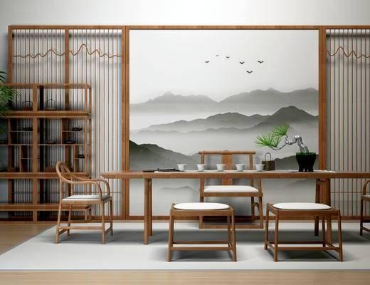 新中式茶室, 桌子, 椅子, 凳子, 壁画, 置物架, 盆栽, 地毯, 新中式