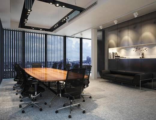 现代, 会议室, 会议桌, 办公桌, 办公椅, 射灯, 沙发, 1000套空间酷赠送模型