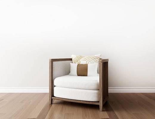 单人沙发, 新中式