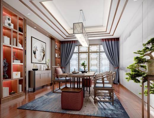 新中式茶室, 桌子, 椅子, 壁画, 置物柜, 吊灯, 边柜, 凳子, 边几, 盆栽, 新中式