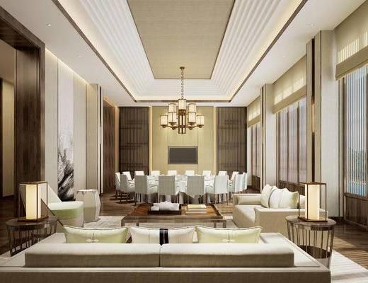 新中式, 餐厅, 包间, 餐桌, 椅子, 吊灯, 沙发, 茶几, 摆件, 餐具, 茶具, 1000套空间酷赠送模型