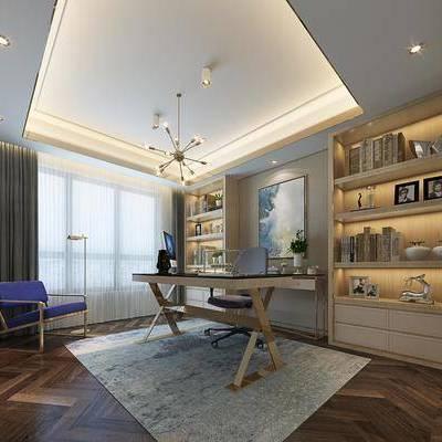 现代书房, 桌子, 椅子, 置物柜, 壁画, 吊灯, 地毯, 现代