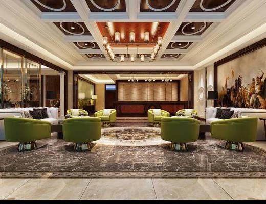 会客区, 吊灯, 壁画, 多人沙发, 椅子, 落地灯, 茶几, 现代