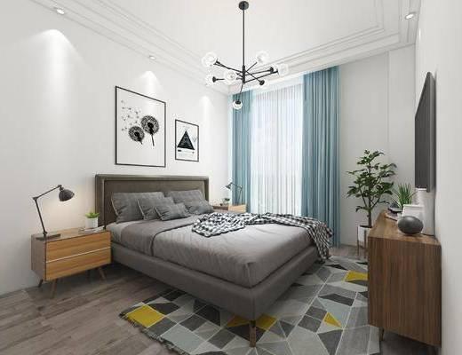 卧室, 壁画, 双人床, 床头柜, 台灯, 吊灯, 电视柜, 盆栽, 北欧