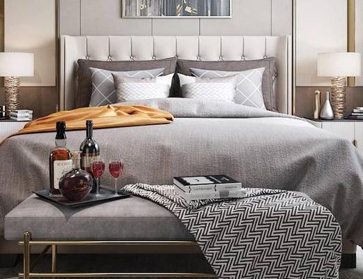 床具组合, 双人床, 床尾塌, 壁画, 床头柜, 台灯, 衣柜, 现代