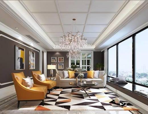 后现代客厅, 吊灯, 壁画, 多人沙发, 椅子, 边几, 台灯, 茶几, 地毯, 后现代