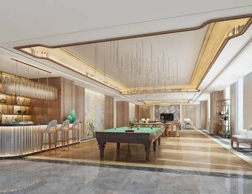 中式桌球室, 桌子, 椅子, 吊灯, 置物柜, 吧台, 中式