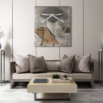 沙发组合, 多人沙发, 茶几, 边几, 壁画, 花瓶, 新中式