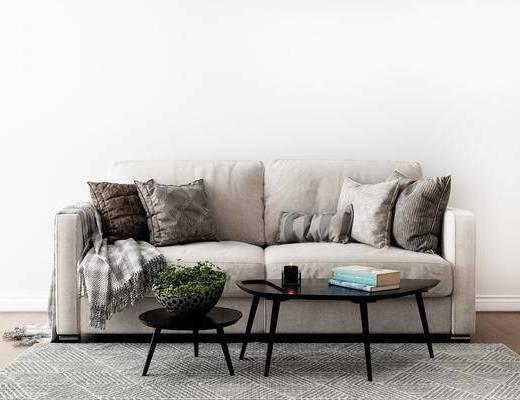 摆件组合, 双人沙发, 茶几, 北欧