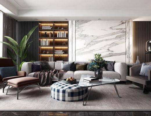 沙发组合, 现代沙发组合, 沙发茶几组合, 多人沙发