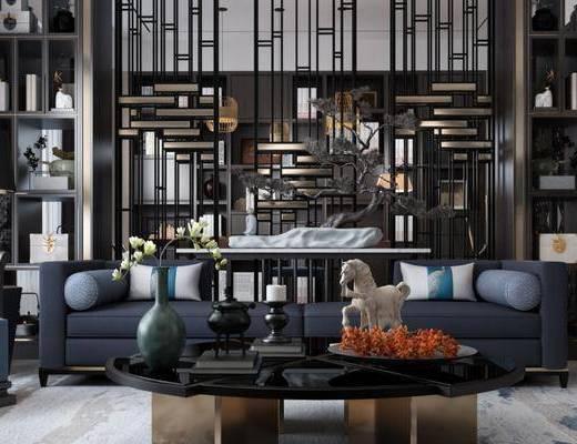 沙发组合, 茶几, 置物柜, 新中式沙发, 椅子, 花瓶, 新中式