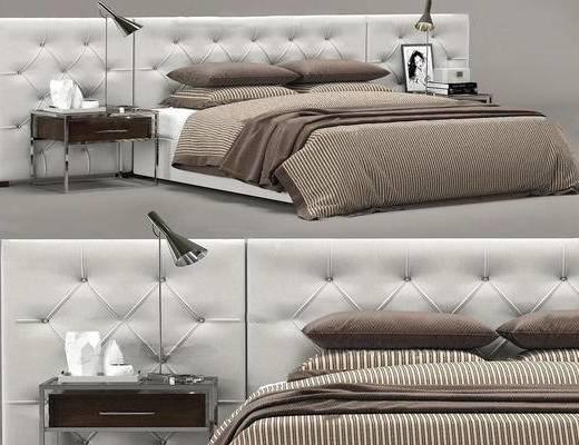 现代简约, 床具组合, 台灯, 陈设品组合