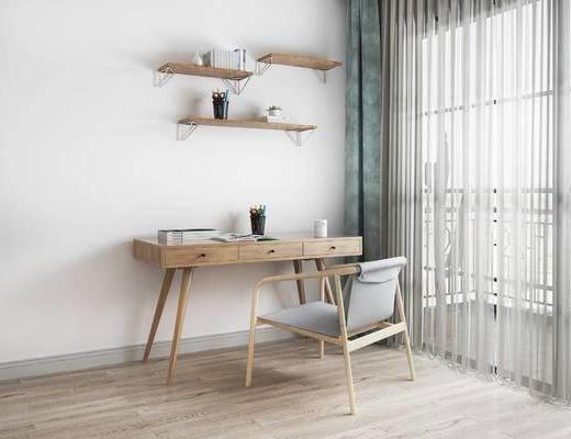 桌椅组合, 桌子, 椅子, 置物架, 北欧