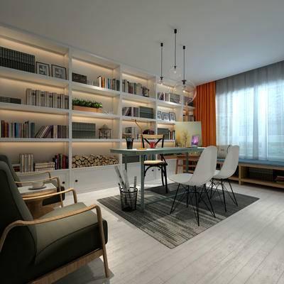 书房, 吊灯, 桌子, 椅子, 置物柜, 茶几, 现代