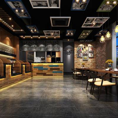 现代咖啡厅, 置物柜, 吊灯, 椅子, 桌子, 现代