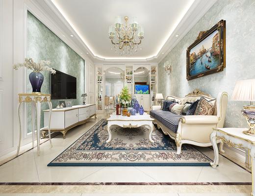欧式风格客餐厅, 欧式风格, 欧式沙发, 欧式电视柜, 欧式全景, 客厅