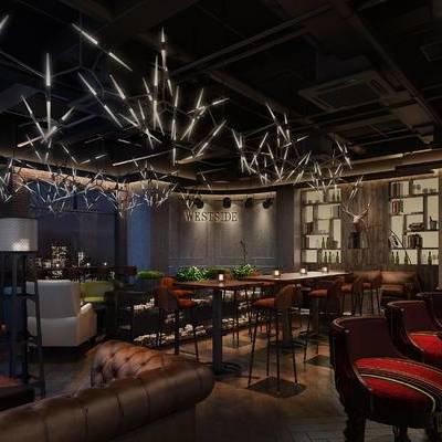 酒吧, 吊灯, 吧椅, 吧台, 桌子, 单人沙发, 置物柜, 现代