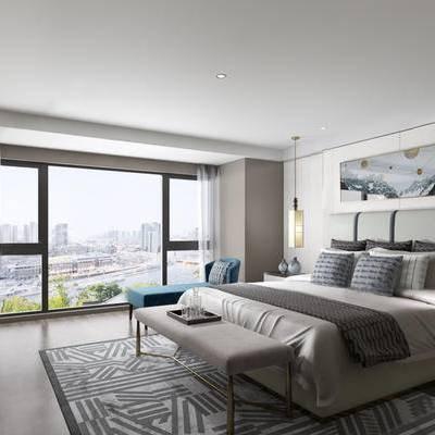 现代卧室, 双人床, 壁画, 床尾塌, 电视柜, 吊灯, 床头柜, 沙发躺椅, 地毯, 现代