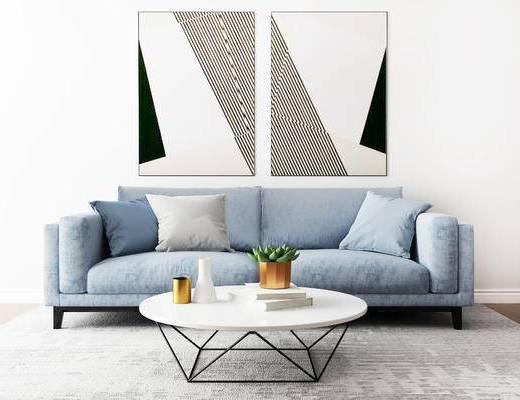 沙发组合, 双人沙发, 茶几, 壁画, 简欧