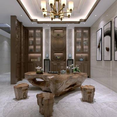 新中式茶室, 壁画, 吊灯, 置物柜, 边几, 凳子, 新中式