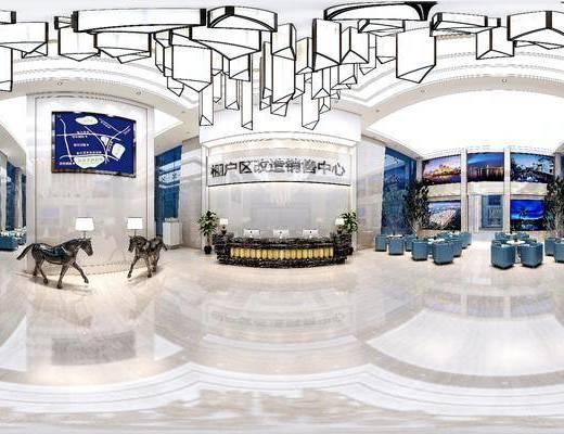 现代售楼处, 前台, 吊灯, 椅子, 雕塑, 壁画, 台灯, 现代