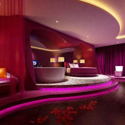 现代客房, 双人床, 台灯, 落地灯, 单椅, 洗手台, 马桶, 现代