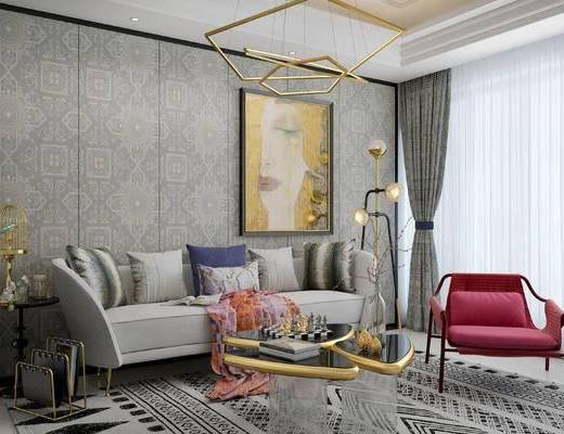 沙发组合, 多人沙发, 壁画, 吊灯, 落地灯, 椅子, 茶几, 边几, 欧式