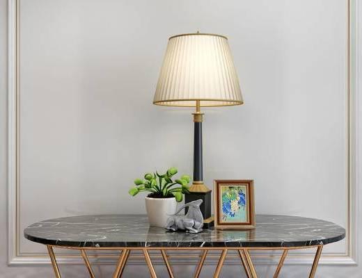 摆件组合, 桌子, 台灯, 相框, 盆栽, 简欧