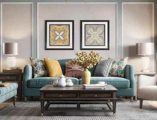 沙发组合, 双人沙发, 茶几, 壁画, 椅子, 边几, 台灯, 现代
