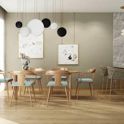 桌椅组合, 吊灯, 桌子, 椅子, 壁画, 吧台, 吧椅, 现代