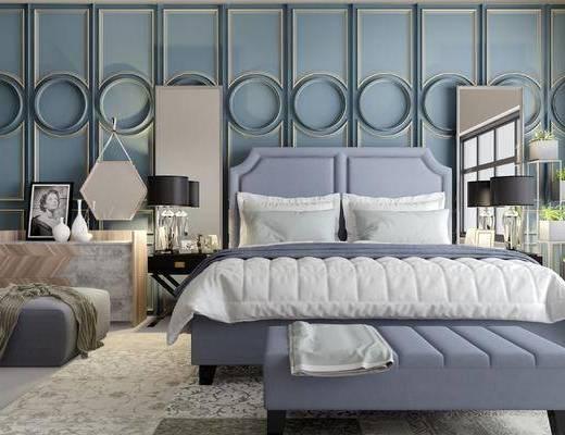 床具组合, 双人床, 台灯, 边几, 床尾塌, 沙发凳, 壁画, 欧式