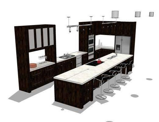 厨柜, 橱柜, 厨房, 现代, 椅子, 吧台