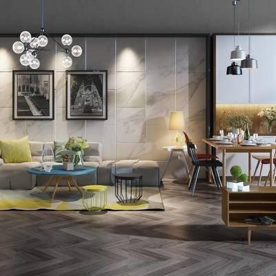 桌椅组合, 吊灯, 壁画, 多人沙发, 茶几, 椅子, 边柜, 边几, 台灯, 盆栽, 花瓶, 现代