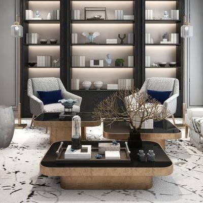 现代客厅, 落地灯, 茶几, 椅子, 凳子, 沙发凳, 置物柜, 地毯, 现代