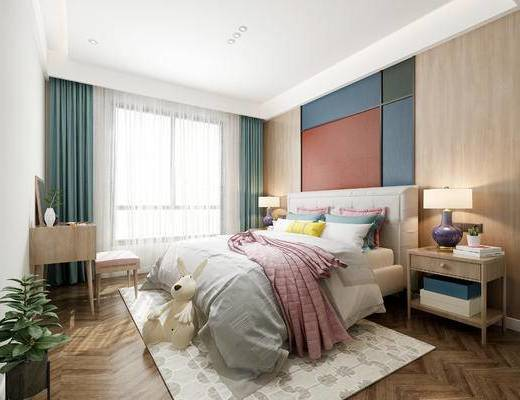 现代简约卧室, 床, 床头柜, 台灯, 桌椅组合, 盆栽, 玩具, 地毯, 现代简约