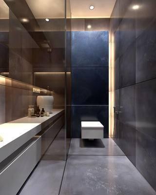 卫生间, 洗手台, 马桶, 洗漱用品, 现代