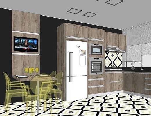 餐厅, 店铺, 桌椅组合, 吊灯, 场景, 现代, 厨房