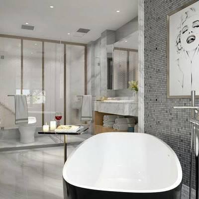 卫生间, 壁画, 浴缸, 马桶, 洗手台, 边几, 现代
