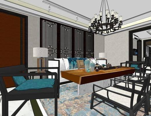 新中式客厅, 多人沙发, 茶几, 边几, 台灯, 吊灯, 桌子, 椅子, 橱柜, 置物柜, 边柜, 新中式