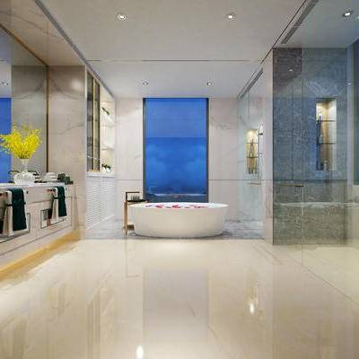 现代卫浴, 洗手台, 浴缸, 壁灯, 花瓶, 现代