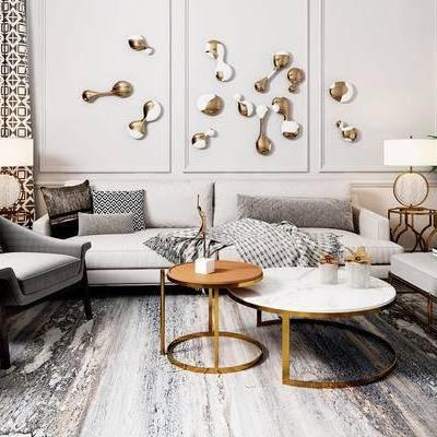 沙发组合, 多人沙发, 茶几, 边几, 椅子, 吊灯, 盆栽, 沙发躺椅, 后现代