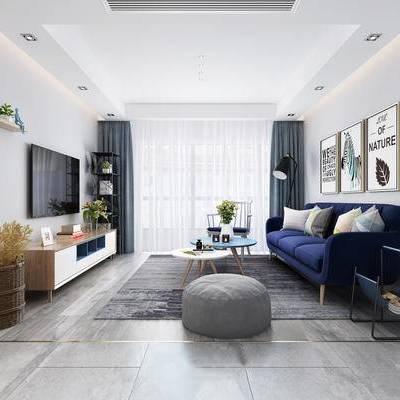 北欧客厅, 多人沙发, 壁画, 落地灯, 电视柜, 置物柜, 边几, 花瓶, 沙发凳, 椅子, 地毯, 北欧