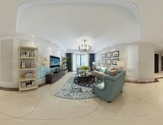 美式客餐厅, 壁画, 吊灯, 电视柜, 多人沙发, 置物柜, 椅子, 茶几, 边几, 台灯, 美式