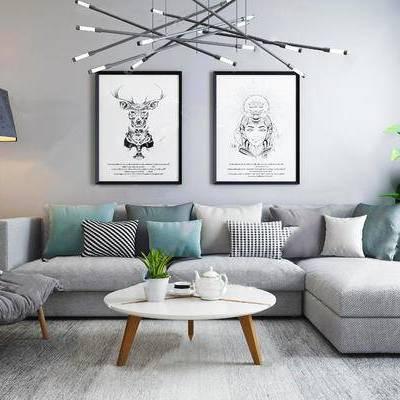 北欧简约, 沙发茶几组合, 吊灯, 落地灯, 装饰画, 北欧, 下得乐3888套模型合辑