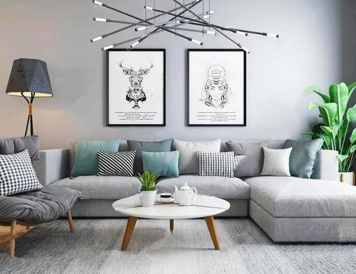 北欧简约, 沙发茶几组合, 吊灯, 落地灯, 装饰画