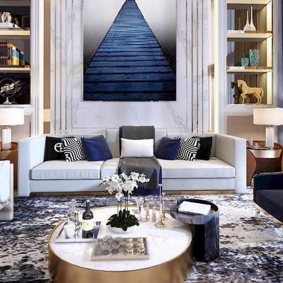 客厅, 沙发茶几组合, 置物架, 陈设品组合, 现代, 摆件