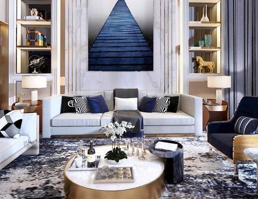 现代简约, 客厅, 沙发茶几组合, 置物架, 陈设品组合