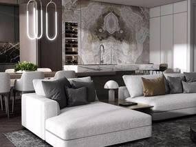 现代简约, 客餐厅, 沙发茶几组合, 桌椅组合, 吊灯, 植物