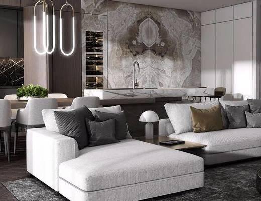 桌椅组合, 吊灯, 植物, 现代, 沙发